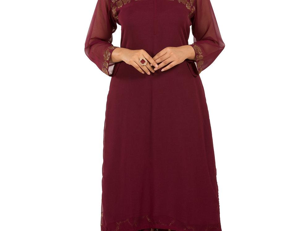 Wine Base Printed Floor Length Western Dress & Skirt (Style Code: 2359281)