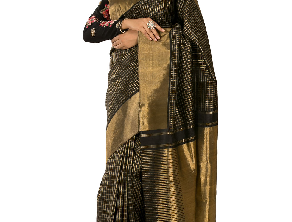 Black Base Pure Silk Designer Saree with Zari Work & Blouse (StyleCode:2369935)