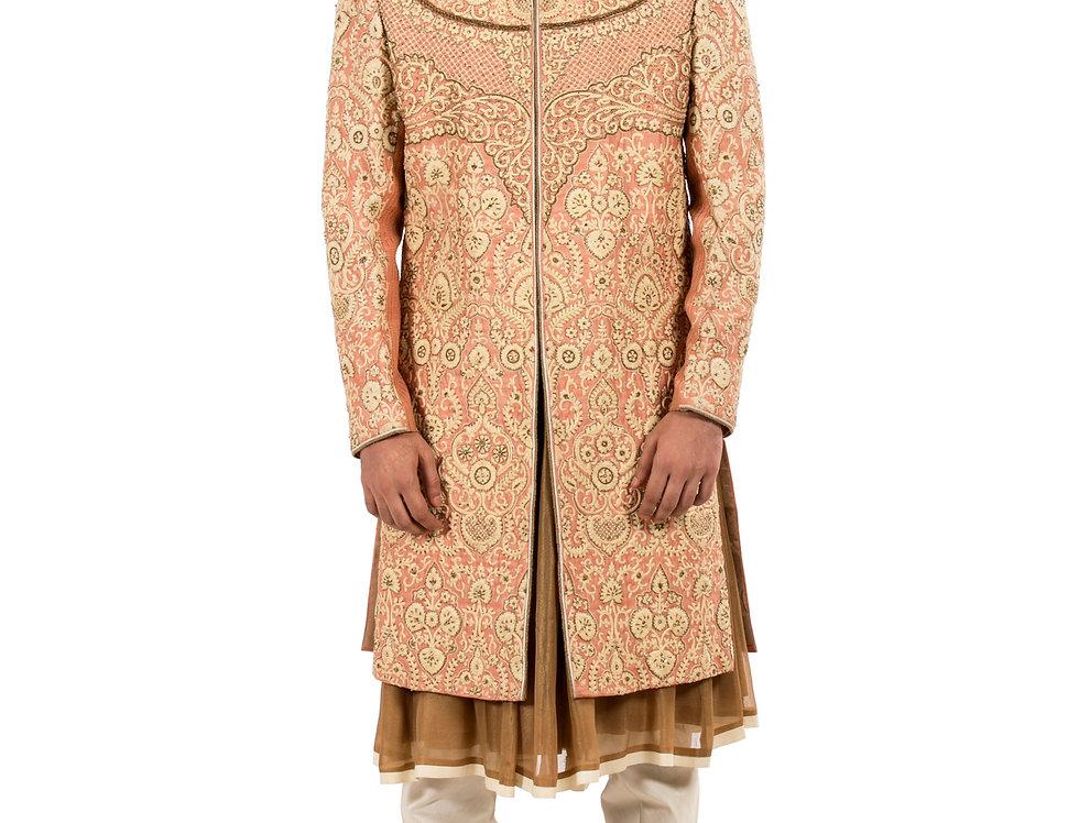 Peach Base Raw Silk Anarkali Sherwani & Churidar (Style Code: 2183994)