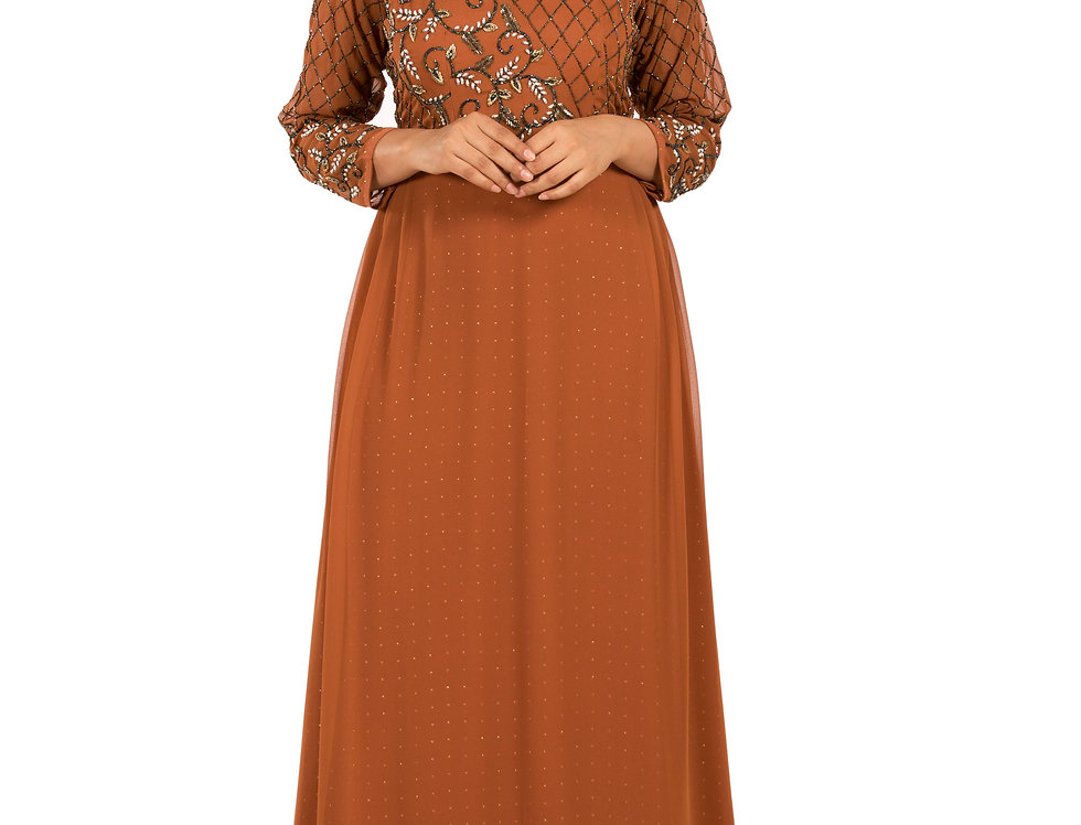 Rust Color Base Georgette Floor Length Western Dress (Style Code: 2359260)