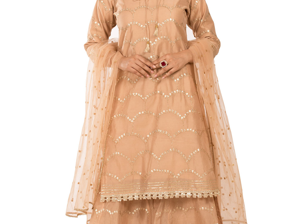 Golden Base Chanderi Silk Suit with Palazzo & Dupatta (Style Code: 2388450)