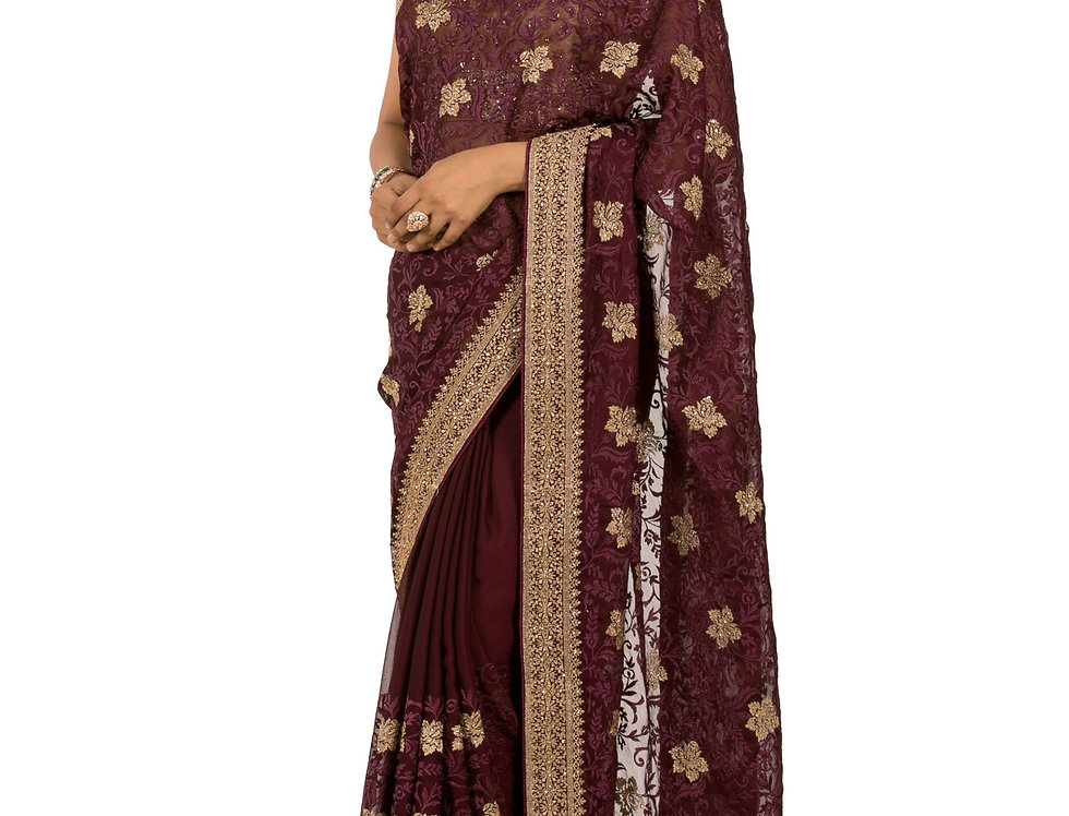 Wine Base Georgette Designer Saree with Zari Work & Blouse (Style Code: 2377143)