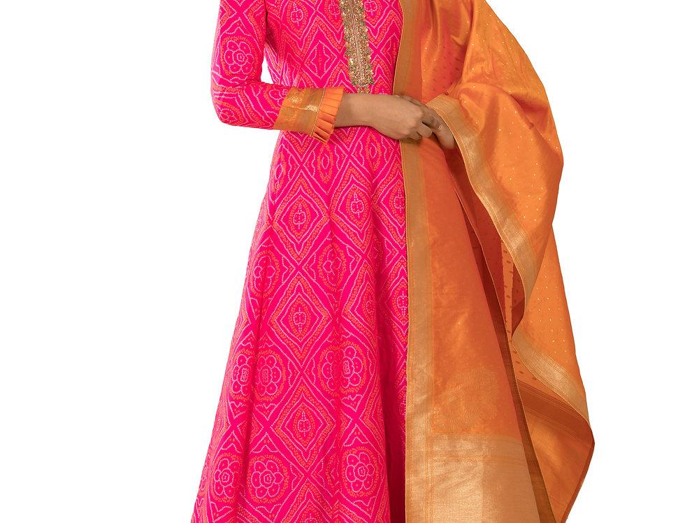 Rani Color Readymade Banarasi Silk Anarkali Suit (Style Code: 2368642)