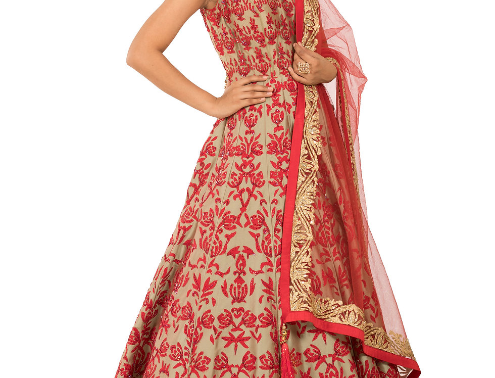 Pista Green Base Anarkali with Red Embroidery & Dupatta (Style Code: 2329491)