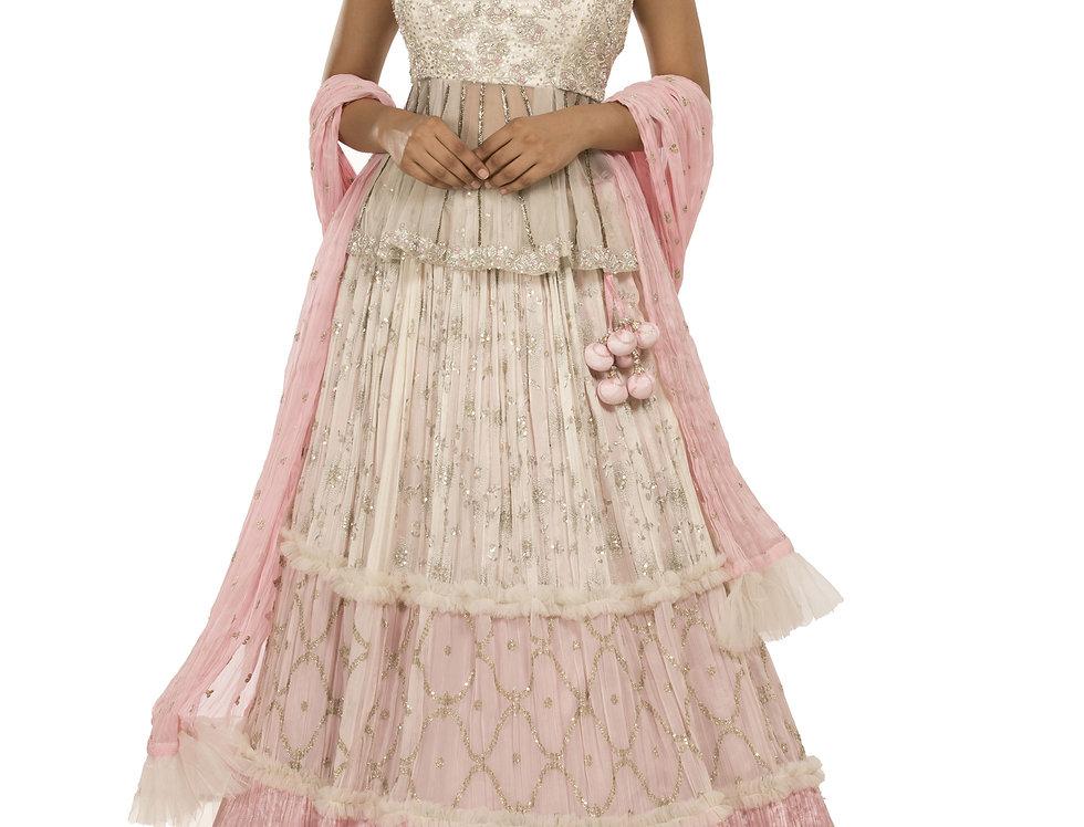 White & Pink Crinkled Party Wear Designer Lehenga (Style Code: 2354122)