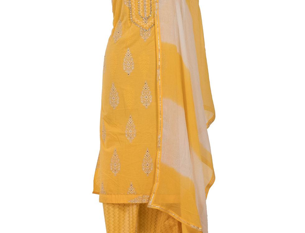 Yellow Base Cotton Unstitched Suit Salwar & Dupatta (Style Code: 2383703)