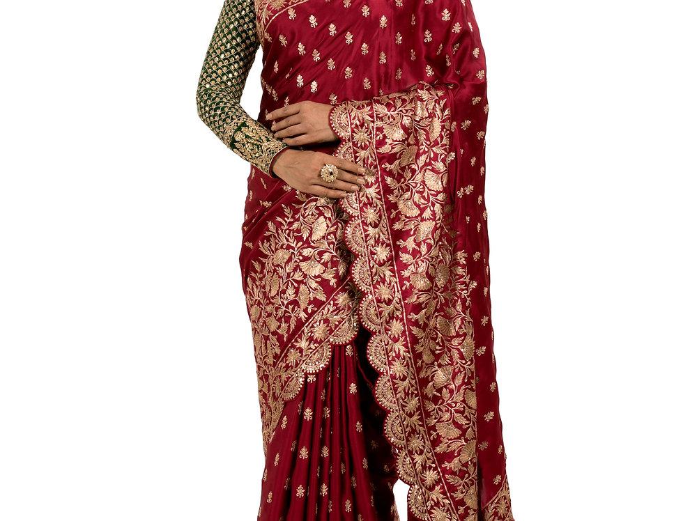 Maroon Base Satin Designer Saree with Zari Work & Blouse (Style Code: 2378336)