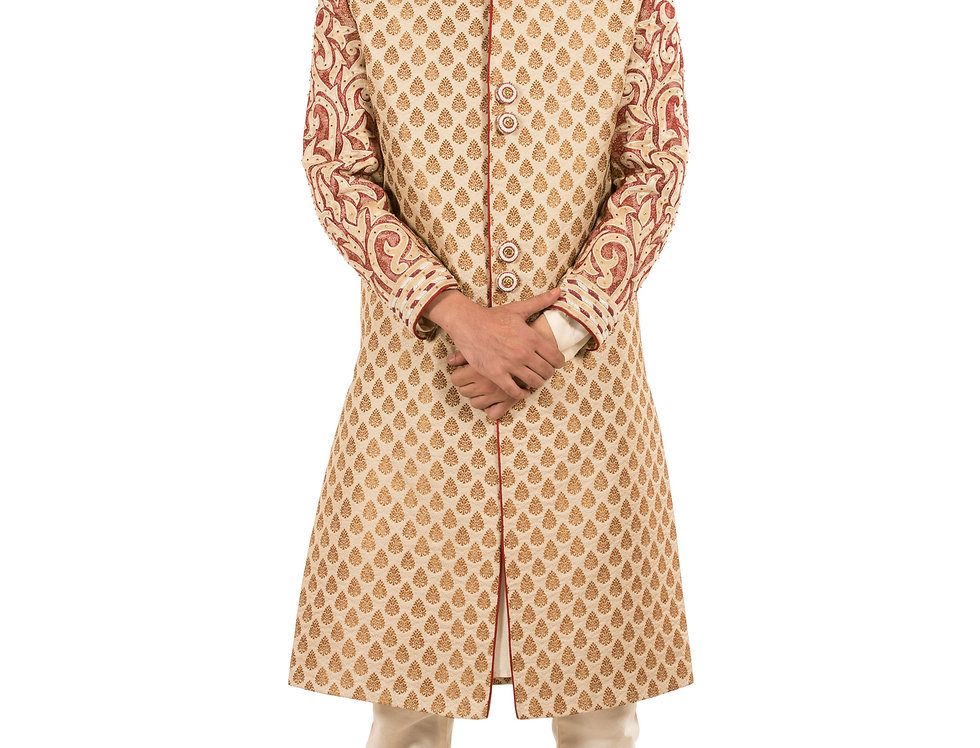 Cream Base Brocade Sherwani with Embroidery & Churidar (Style Code: 1971513)