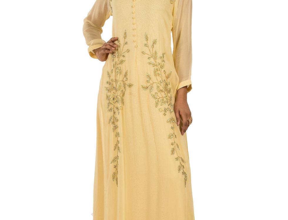Lemon Yellow Base Georgette Floor Length Western Dress (Style Code: 2359322)