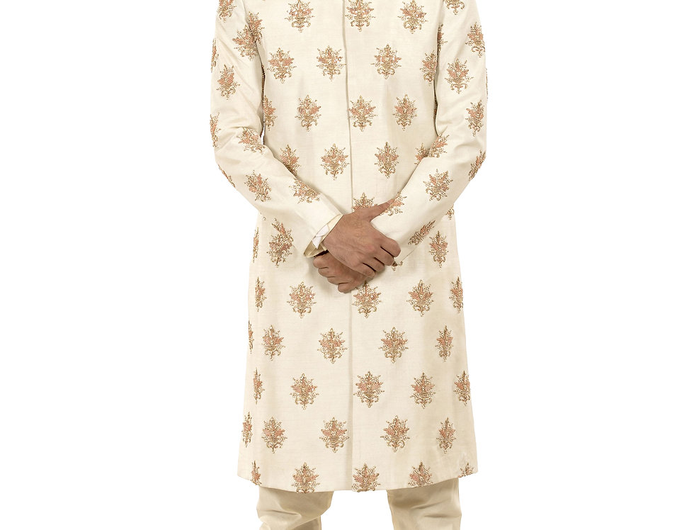 Cream Base Dupion Sherwani with Embroidery & Churidar (Style Code: 2324262)
