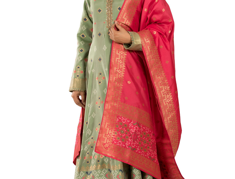 Pista Green Anarkali Suit with Churidar & Dupatta (Style Code: 2352651)