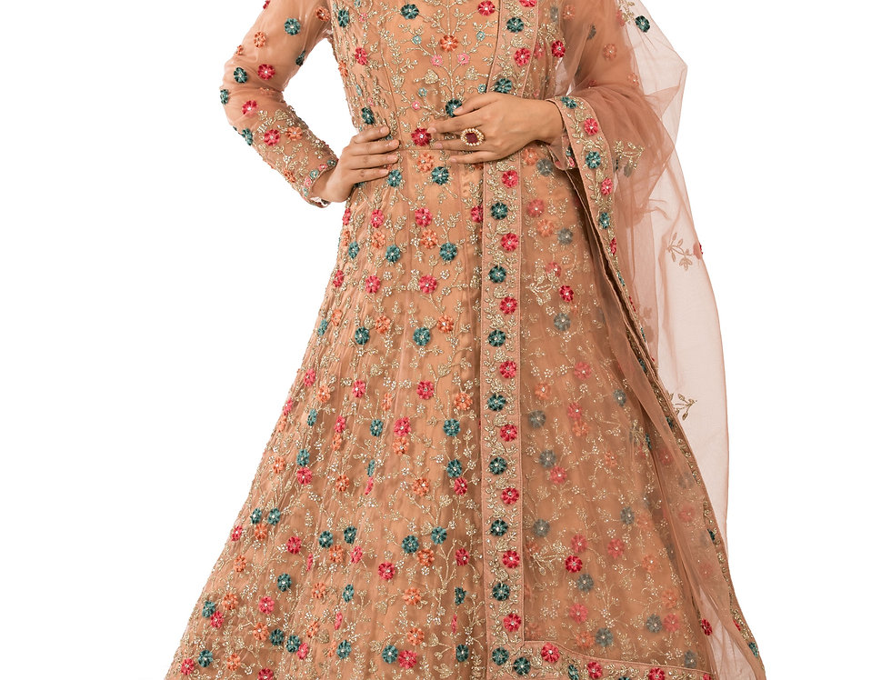 Light Brown Anarkali Suit with Embroidery & Heavy Dupatta (Style Code: 2389620)