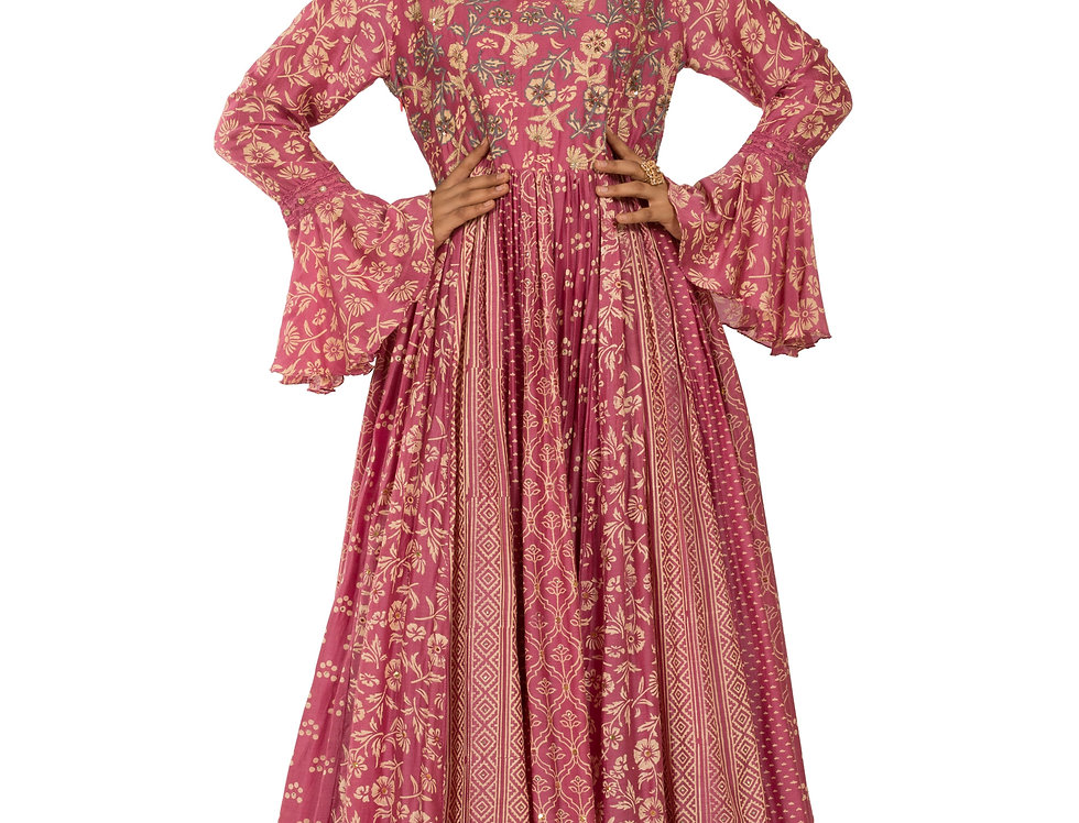 Pink Base Chanderi Silk Gown with Embroidery work (Style Code: 2338028)