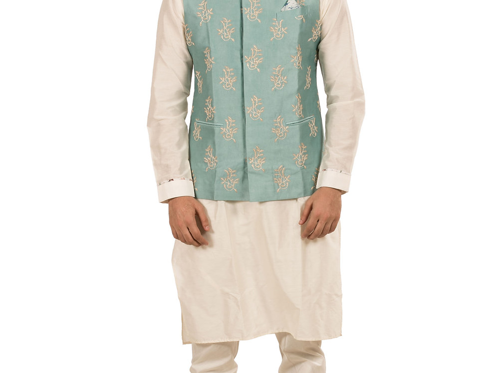 White Silk Designer Kurta Pajama with Sea Green Jacket (Style Code: 2359460)