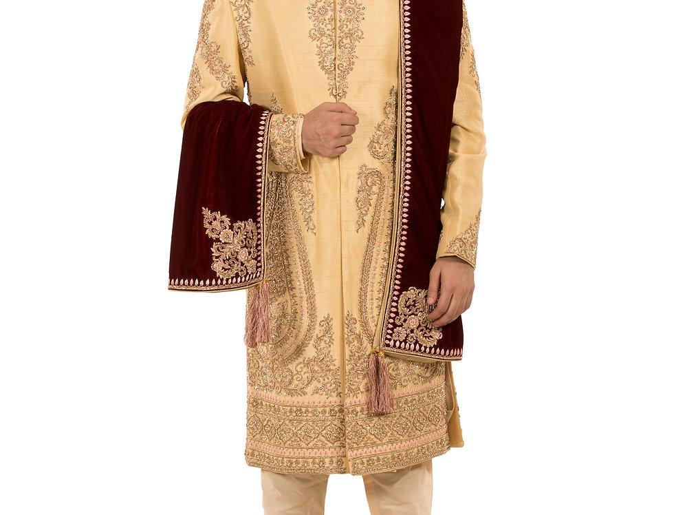 Murstard Gold Raw Silk Sherwani with Zardozi & Resham Work (Style Code: 2388406)