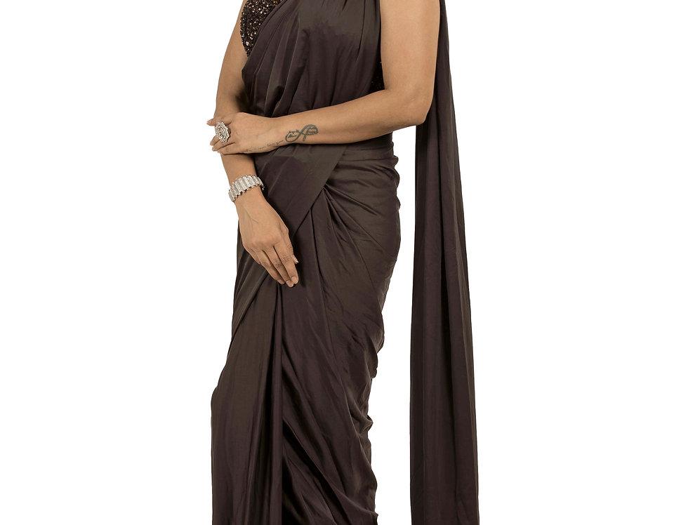 Coke Base Lycra Designer Stitch Draped Saree with Blouse (Style Code: 2380588)