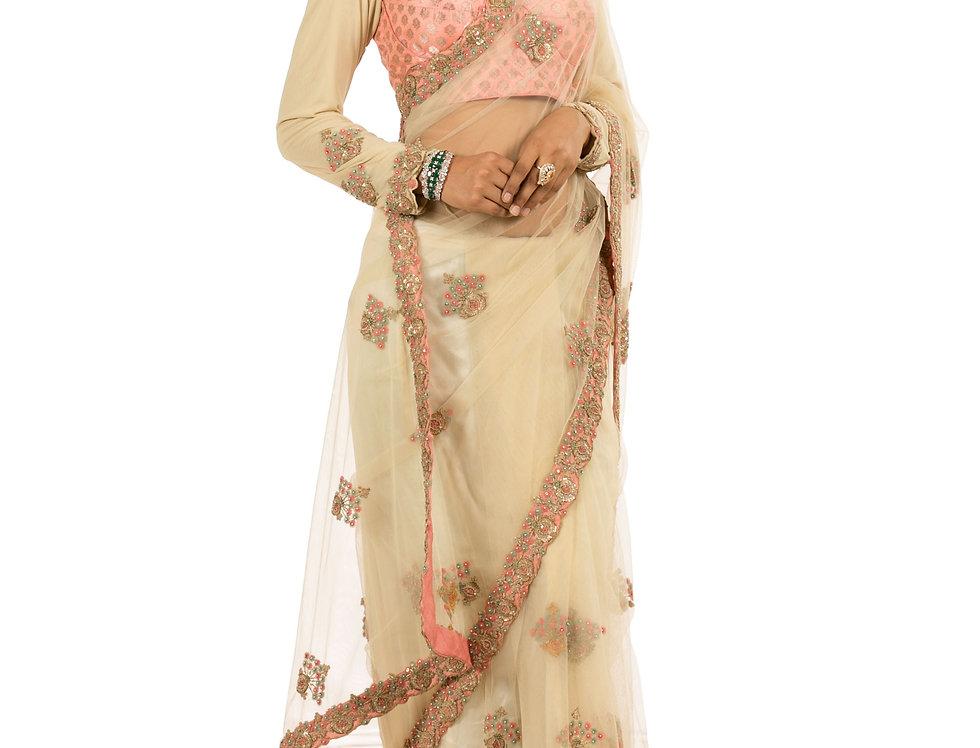 Cream Base Net Designer Saree with Zari Work & Blouse (Style Code: 2190944)
