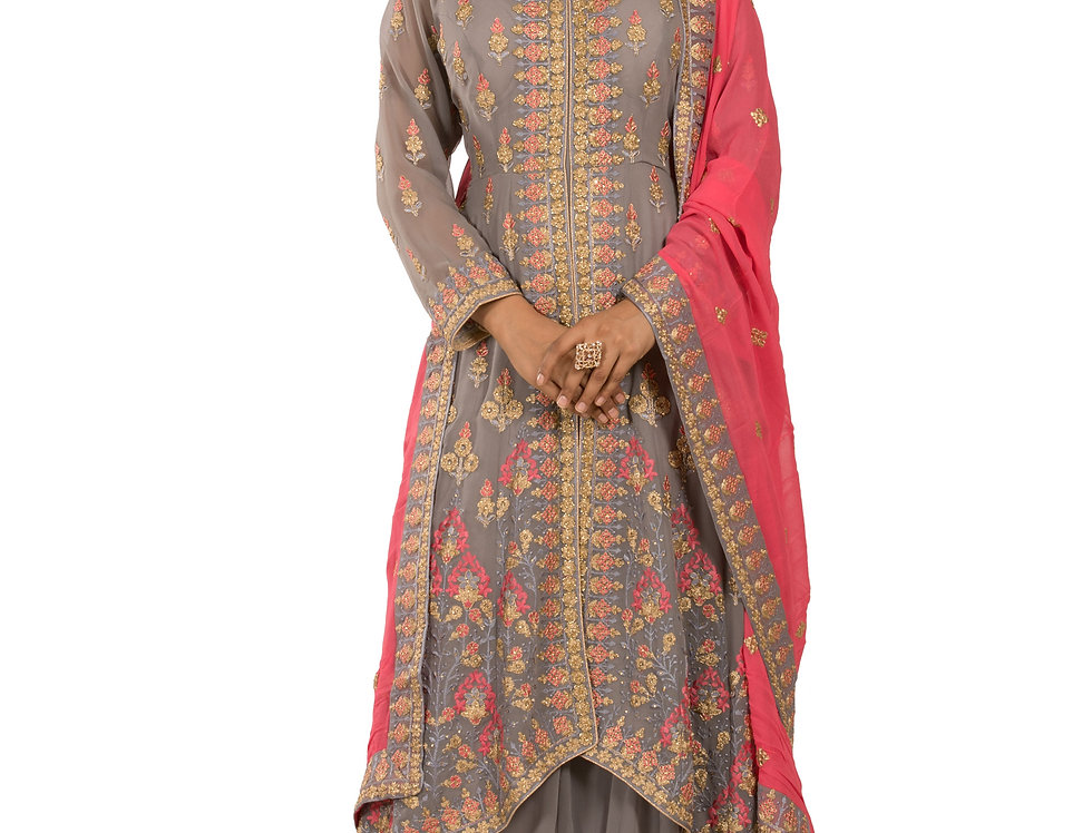 Grey Fish Cut Anarkali Suit with Skirt & Dupatta (Style Code: 2387263)