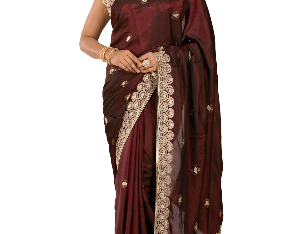 Wine Base Crepe Silk Designer Zari Work Saree with Blouse (Style Code: 2389791)