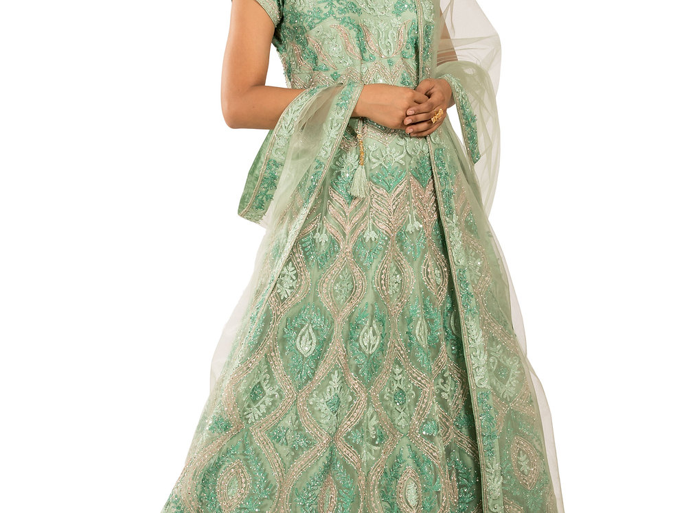 Green Anarkali Suit with Zarkan & Resham Work & Dupatta (Style Code: 2380818)