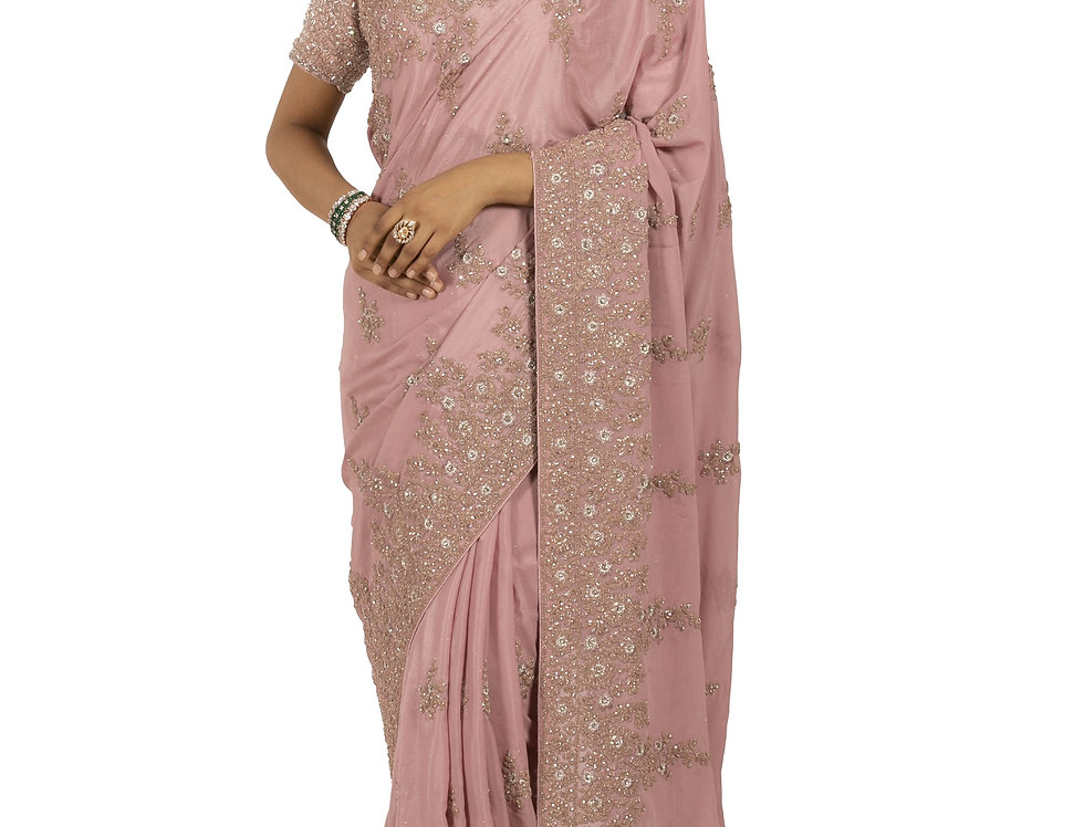 Pink Base Georgette Designer Saree with Zari Work & Blouse (Style Code: 2389799)
