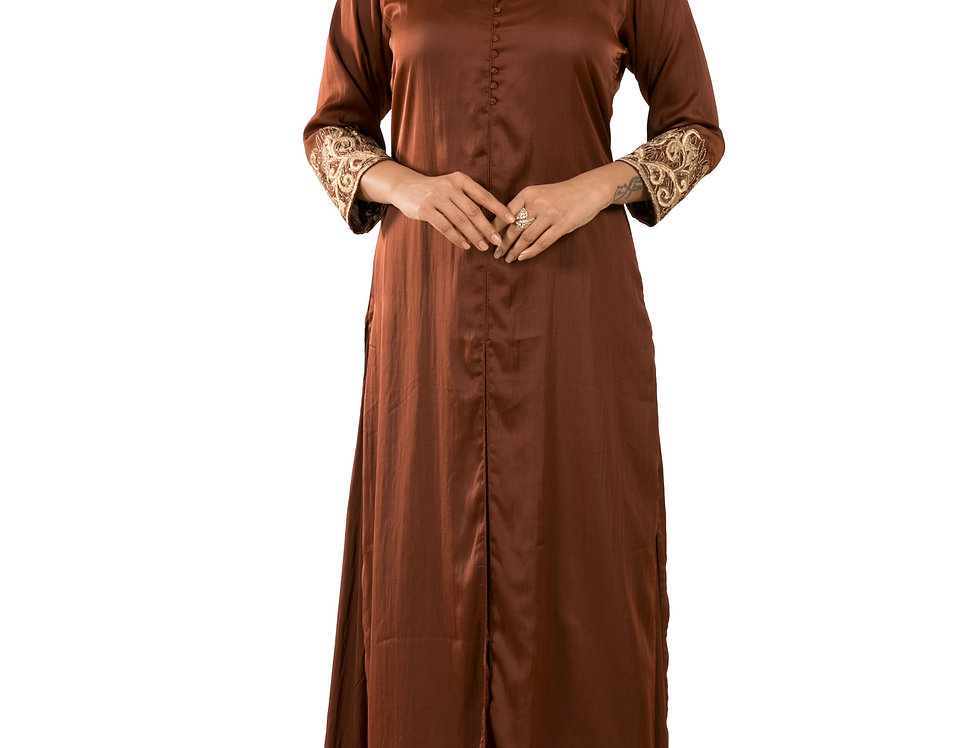 Brown Base Crepe Satin Designer Kurti with Skirt (Style Code: 2381059)