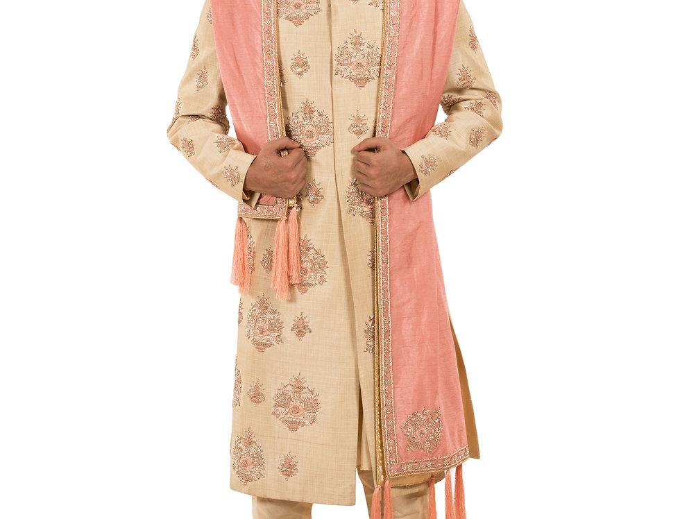 Rose Gold Dupion Sherwani with Embroidery, Churidar & Stole (StyleCode: 2380589)