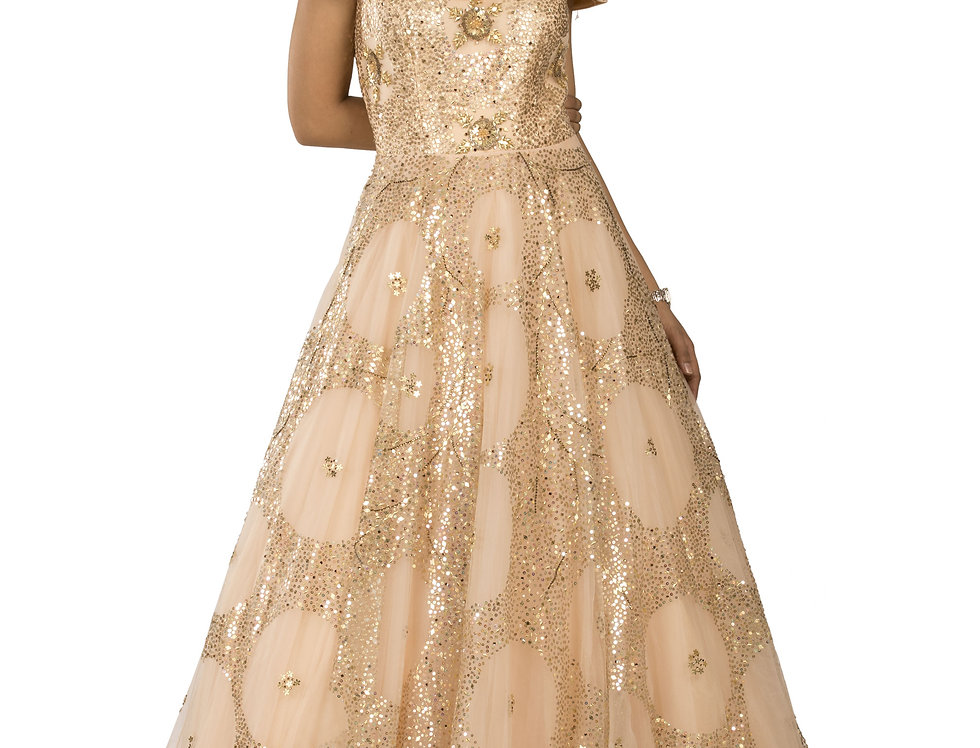 Light Peach Party Wear Gown with Gold Sequence Work (Style Code: 2320669)