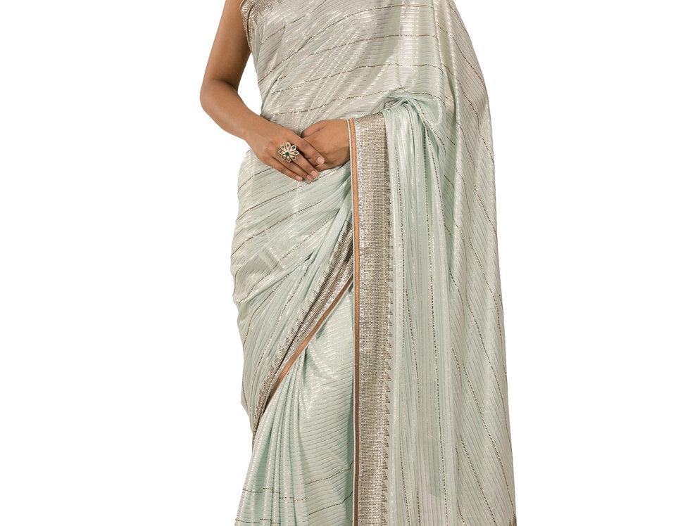 Aqua Base Foil Georgette Designer Saree with Blouse (Style Code: 2389720)