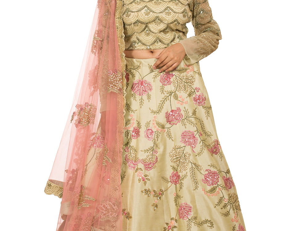 Pista Green Party Wear Lehenga with Multicolor Threadwork (Style Code: 2353015)