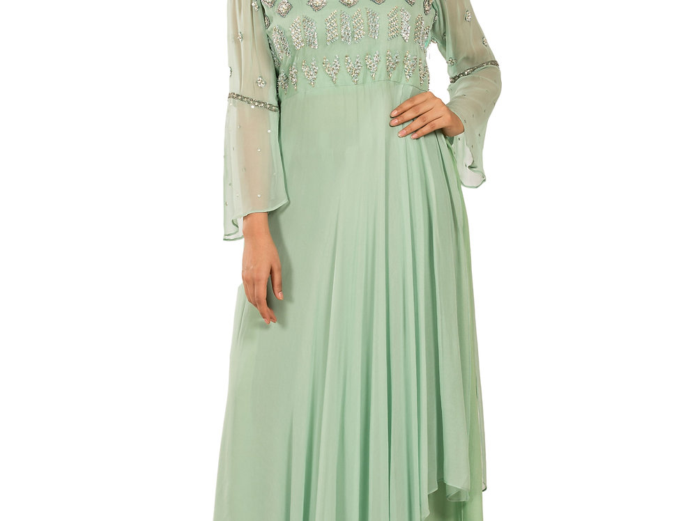 Sea Green Base Indo-Western Dress with Skirt (Style Code: 2366608)