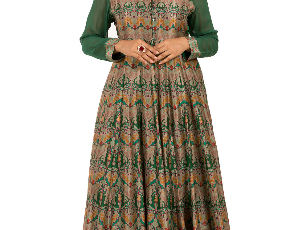 Green Base Printed Crepe Floor Length Western Dress (Style Code: 2347066)