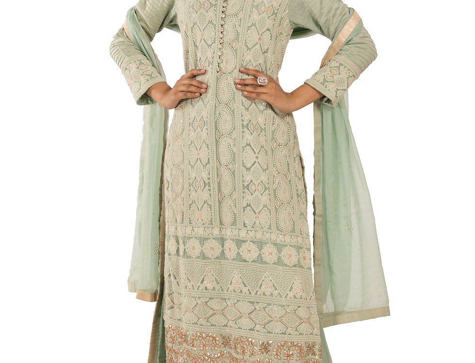 Pista Green Base Readymade Suit with Sharara & Dupatta (Style Code: 2193175)