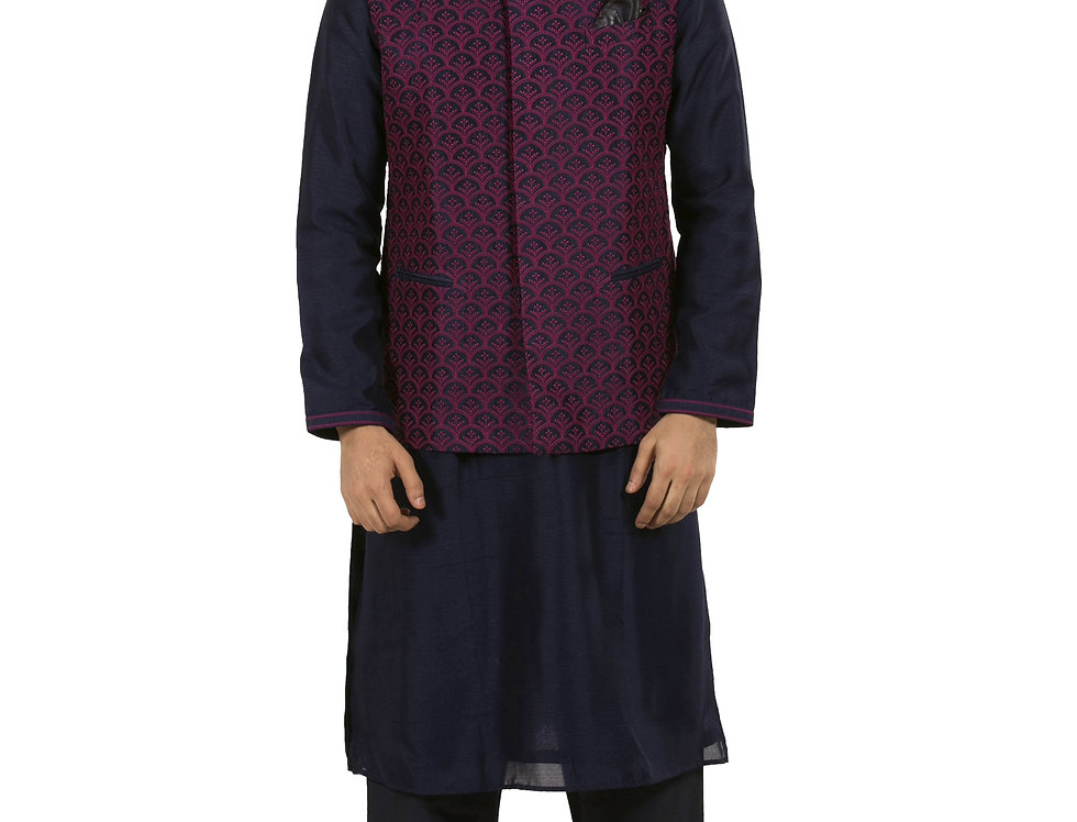Navy Blue Silk Kurta Pajama with Purple Chikan Waist Coat (Style Code: 2373231)