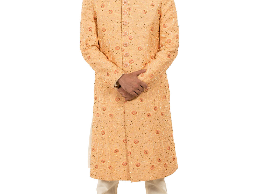 Peach Base Dupion Sherwani with Resham & Sequence Work (Style Code: 2310503)