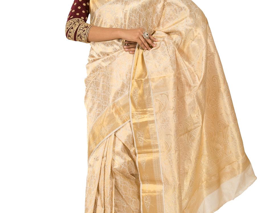Gold Cotton Silk Designer Saree with Zari Work & Blouse (Style Code: 2314974)