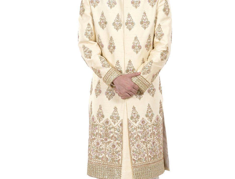 Gold Base Raw Silk Sherwani with Zardozi & Sequence Work (Style Code: 2380894)