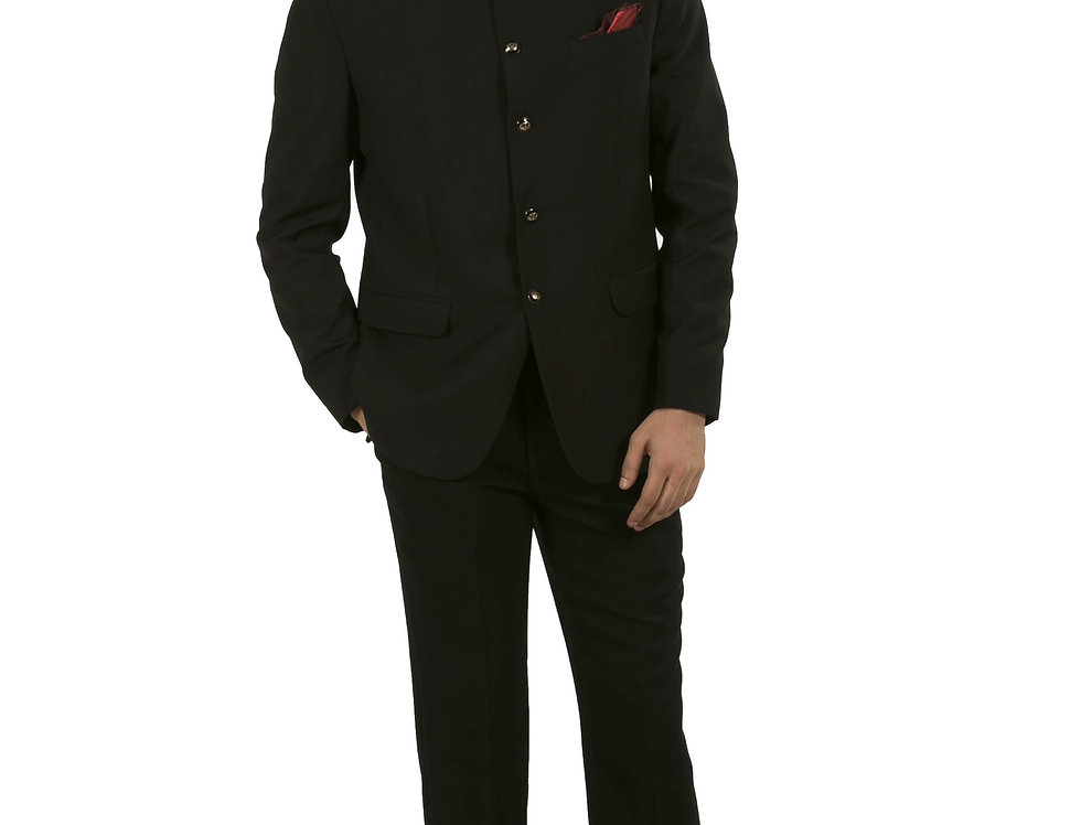Black Poly-Viscose Fabric Band Gala Suit, Jacket with Pant (Style Code: 2375825)