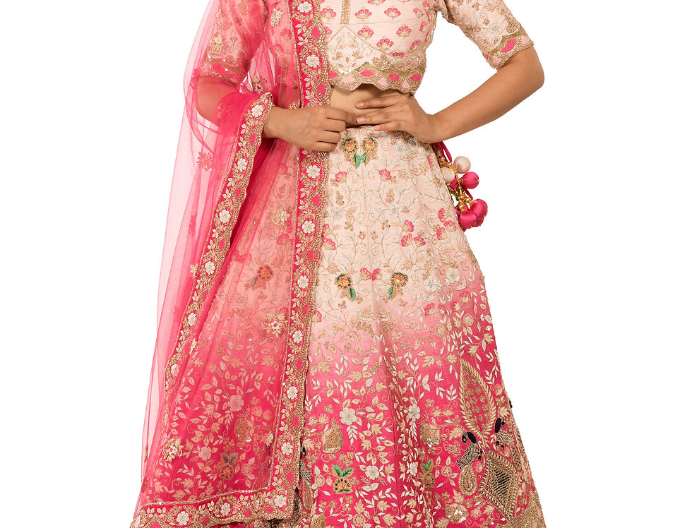 Rose Pink to Baby Pink Shaded Lehenga with Dupatta (Style Code: 2381488)