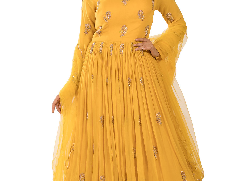Yellow Base Readymade Georgette Anarkali Suit & Dupatta (Style Code: 2366909)