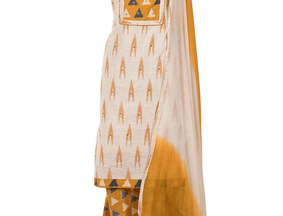 White & Yellow Base Cotton Unstitched Suit Salwar & Dupatta (Style Code:2383296)