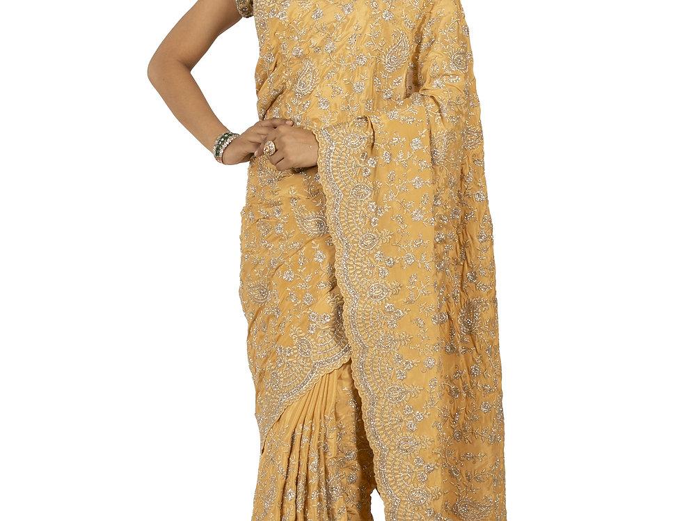 Gold Base Satin Designer Saree with Aari Work & Blouse (Style Code: 2389730)