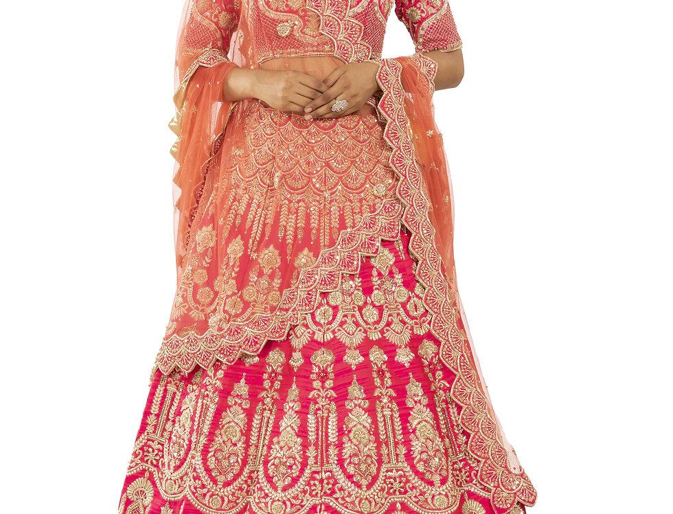 Fuchsia Pink Silk Lehenga with Zari Work & Dupatta (Style Code: 2381969)