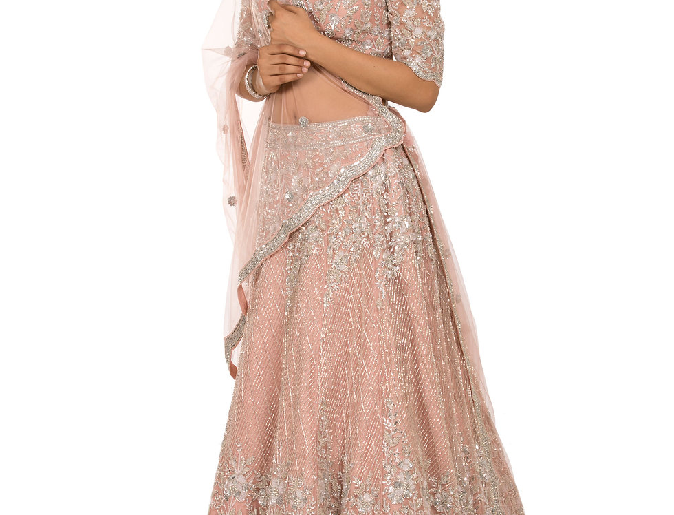 Peach Party Wear Lehenga Cut Glass Sequence Work (Style Code: 2387374)