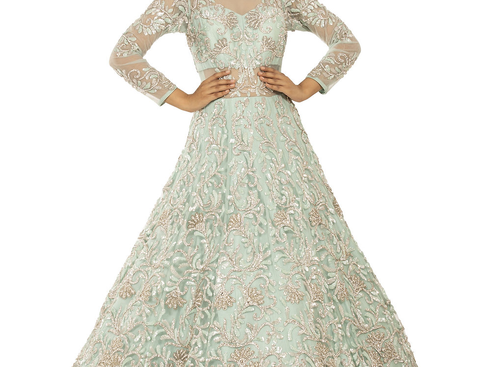 Aqua Blue Party Wear Gown with Silver Crystal Work (Style Code: 2381699)