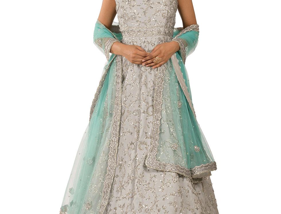 Grey Base Georgette Designer Anarkali Suit & Dupatta (Style Code: 2241057)
