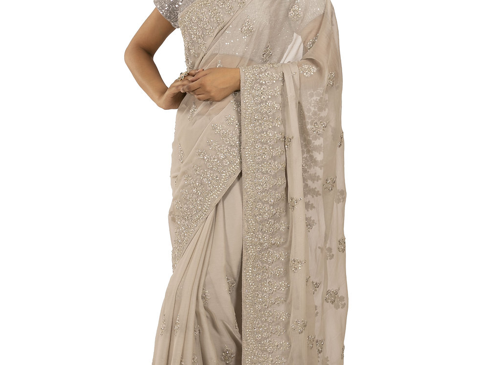 Grey Base Georgette Designer Saree with Blouse (Style Code: 2380900)