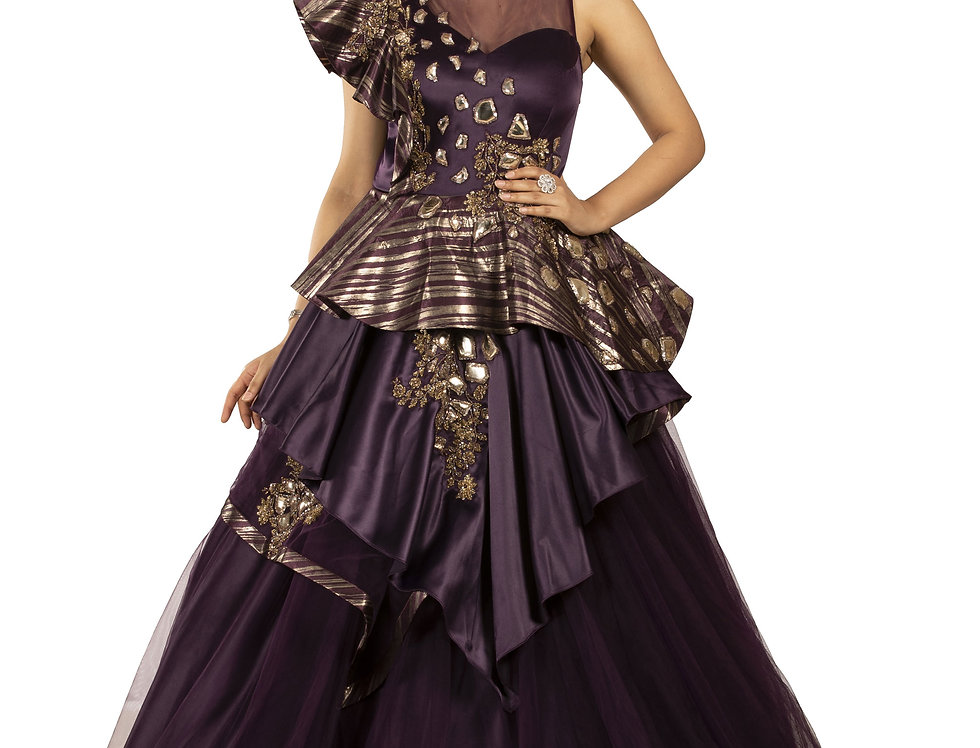 Wine Color Party Wear Gown with Antique Gold Embroidery (Style Code: 2361878)