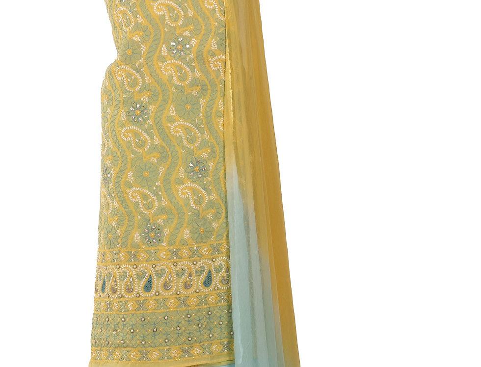 Lemon Yellow & Sky Blue Cotton Unstitched Suit & Dupatta (Style Code: 2383510)