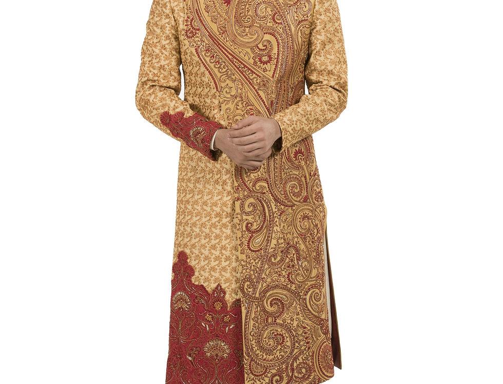 Gold Dupion Designer Angrakshak Style Sherwani (Style Code: 2255664)